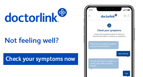 DoctorLink.  Not feeling well? Check your symptoms now